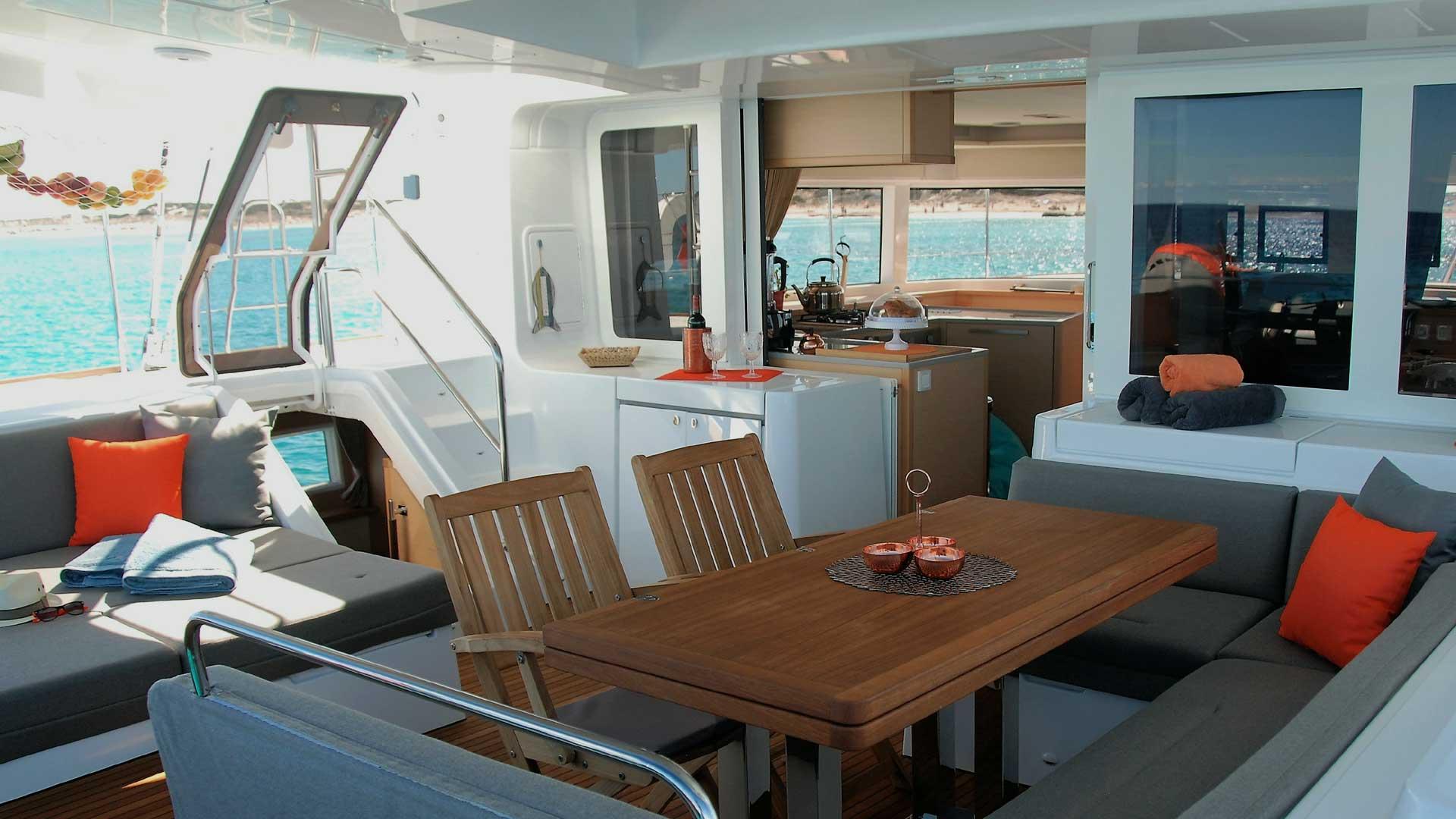 Cockpit and Cockpit Table on Charter Catamaran Shangri La in the US Virgin Islands