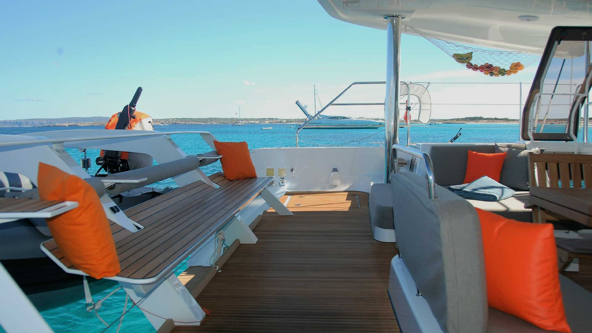 Dinghy Lift and Cockpit on Charter Catamaran