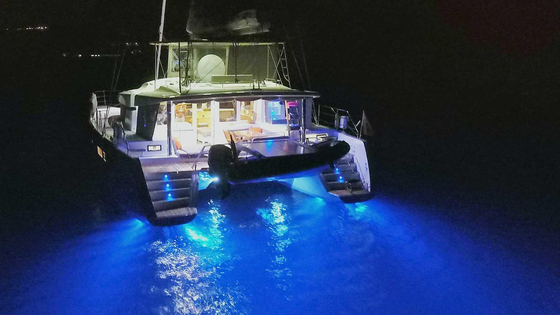 Underwaterlights on Crewed Charter Catamaran