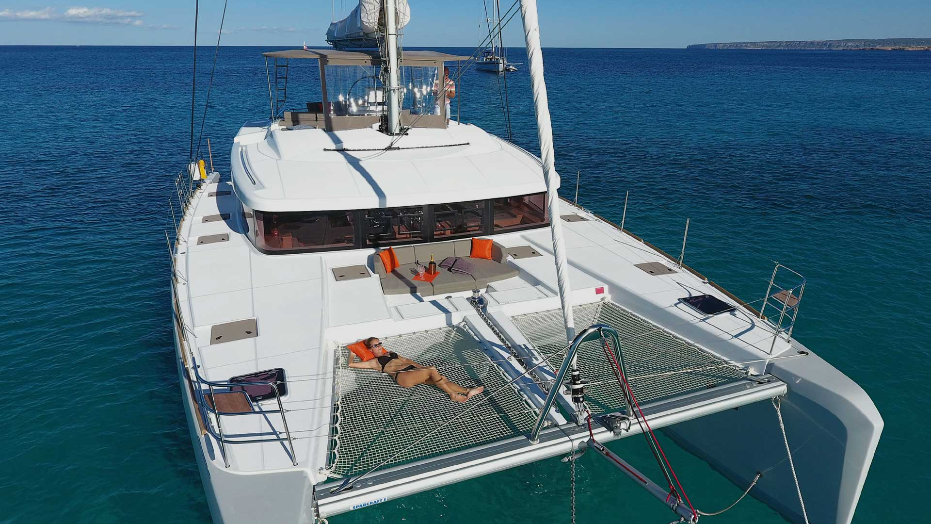 Bow and Trampoline on Crewed Charter Catamaran