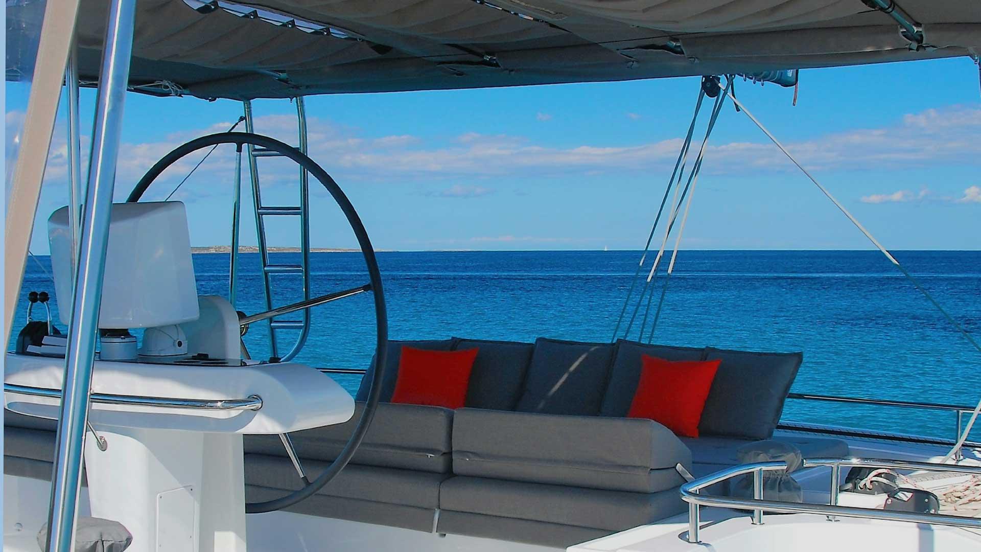 Flybridge on Crewed Charter Catamaran