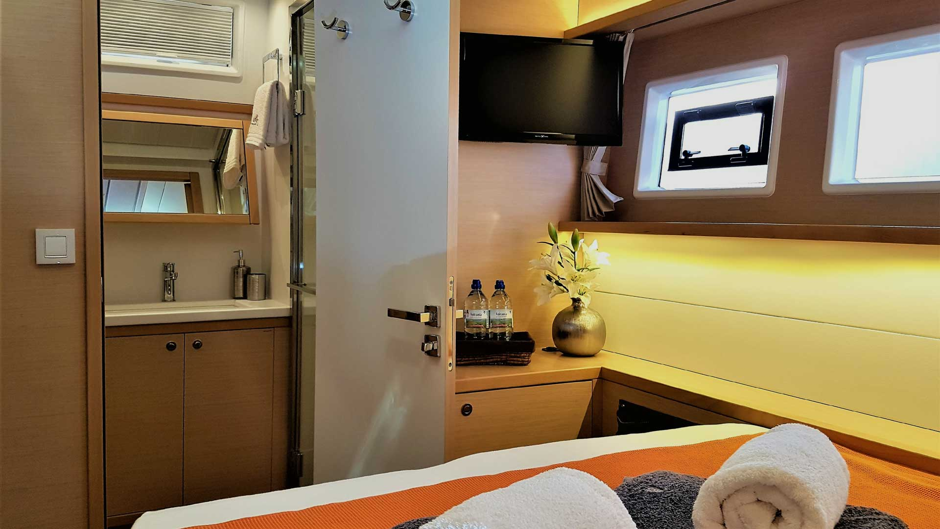 Master Bedroom on Crewed Charter Catamaran