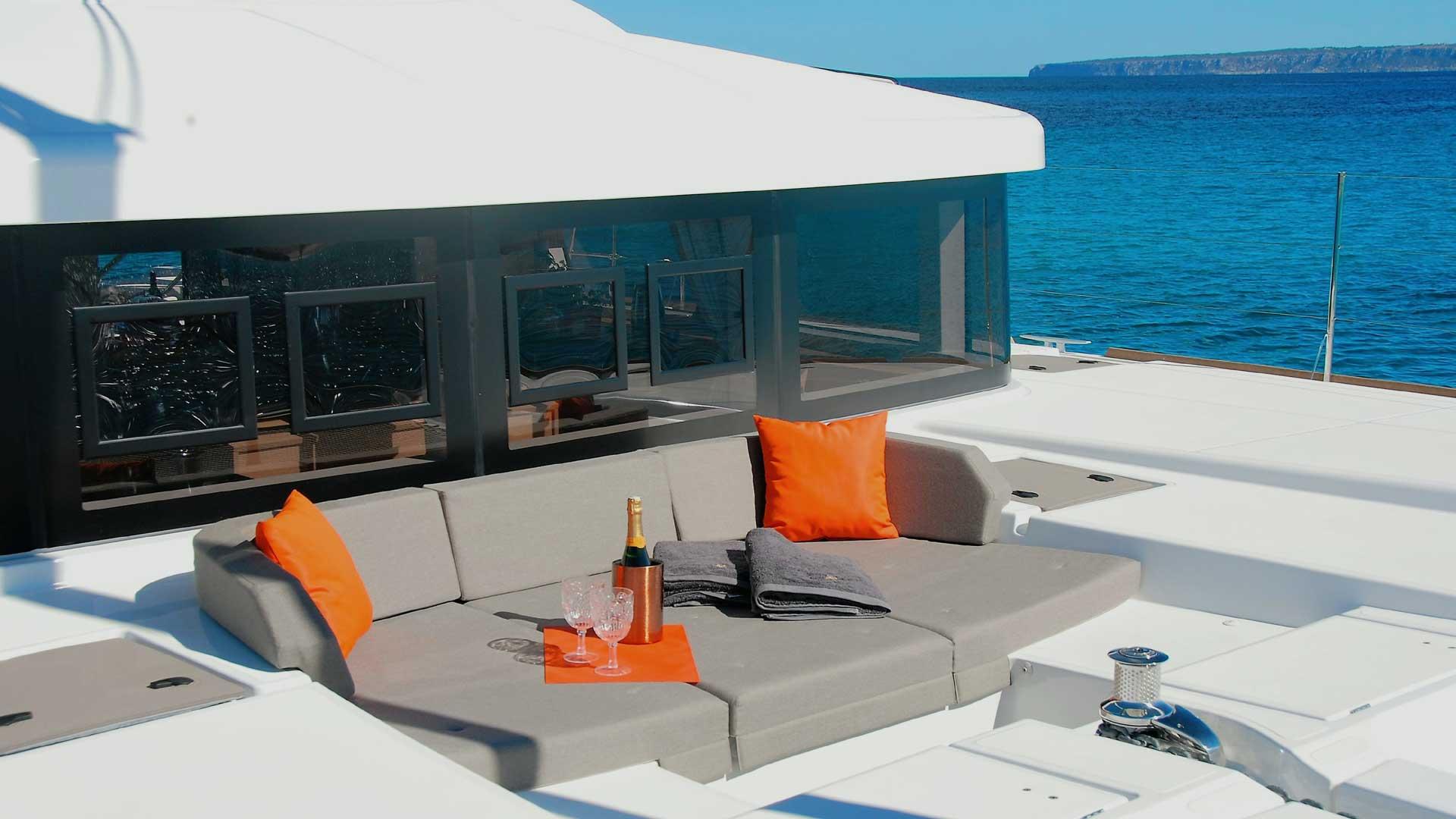 Sun Lounge on Crewed Charter Catamaran